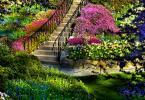 цветна алея около стълбище