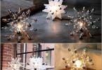 Настолна лампа от налепени крушки във формата на звезда