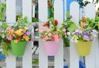Ограда с окачени цветни саксии