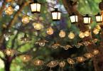 Окачени различни модели фенери в градината за по-мистично коледно настроение